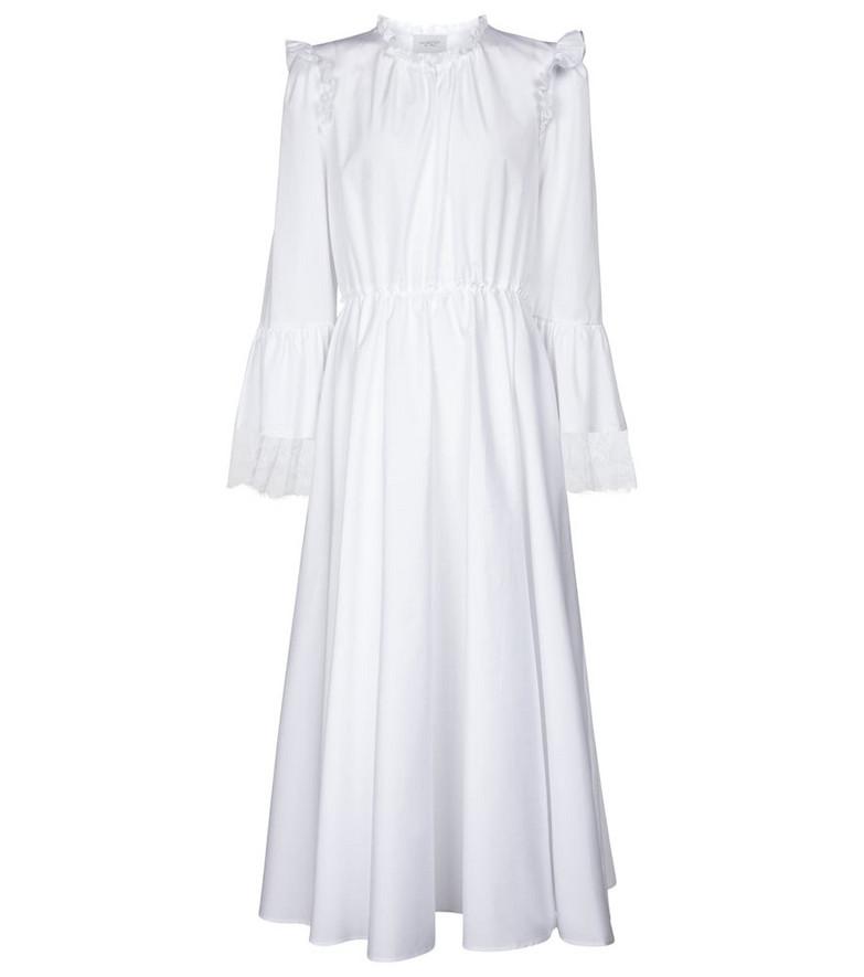 Giambattista Valli Lace-trimmed cotton midi dress in white