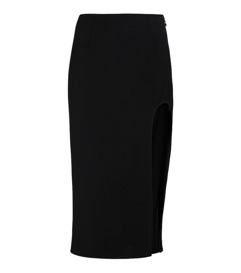 Mugler High-rise wool midi skirt in black