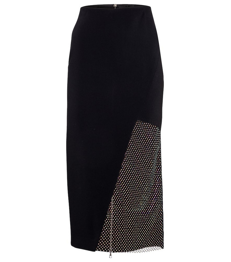 David Koma Crystal-embellished cady pencil skirt in black