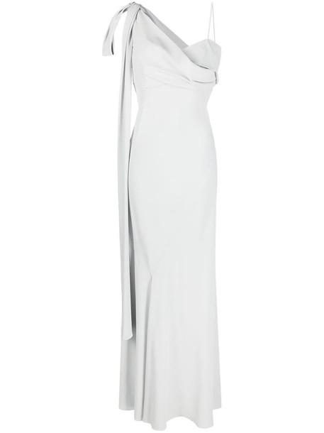 Alberta Ferretti one-shoulder evening gown in grey