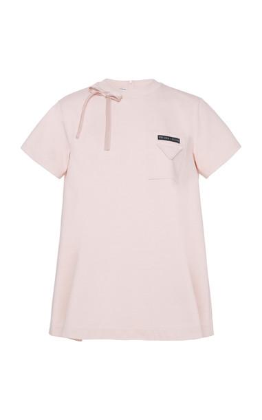 Prada Bow Detail Logo T-Shirt in pink