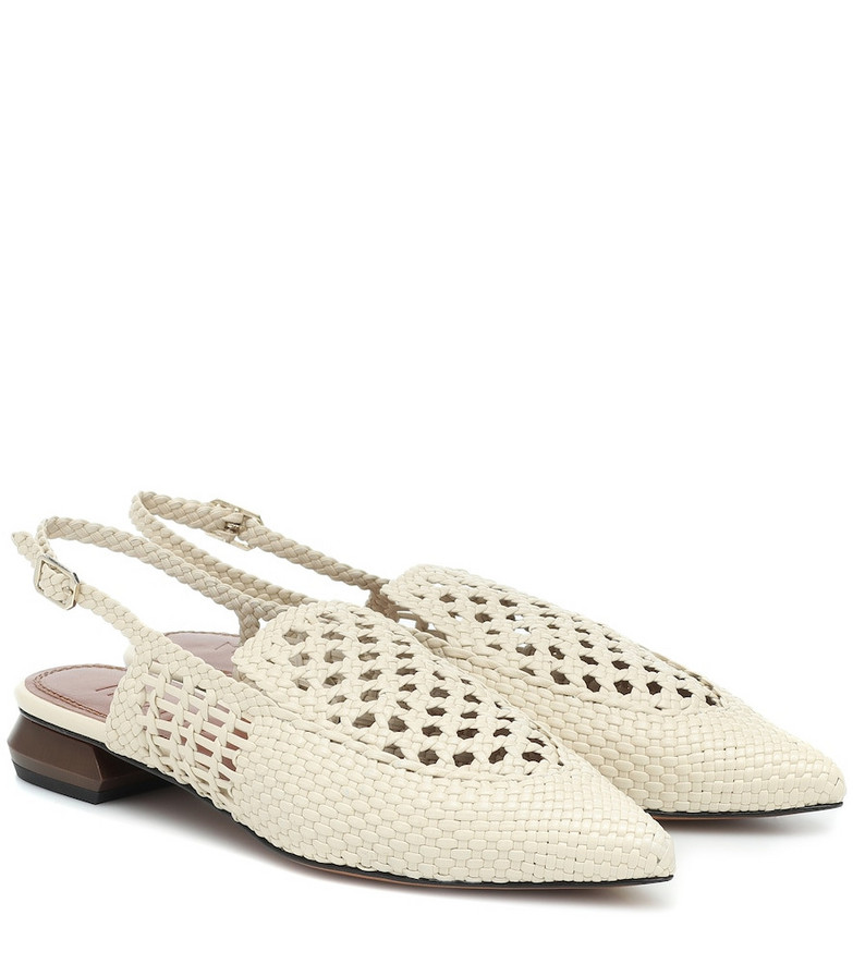Souliers Martinez Gloria leather slingback sandals in white