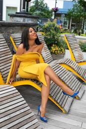 jadore-fashion,blogger,wedding guest,cocktail dress,yellow dress,one shoulder dress,manolo blahnik,blue heels