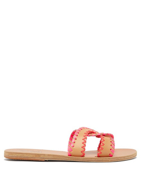 Ancient Greek Sandals - Desmos Whipstitched Leather Slides - Womens - Pink Multi