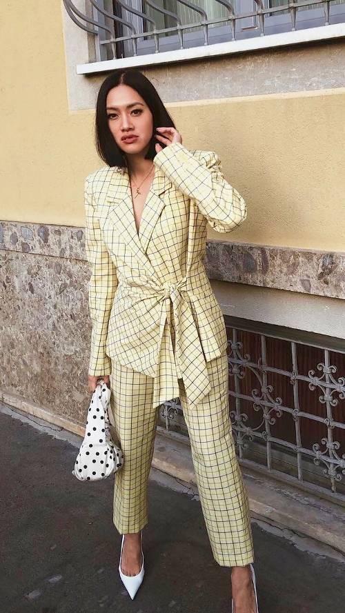 pants model off-duty model streetstyle streetwear fw suit women's suit yellow yellow coat