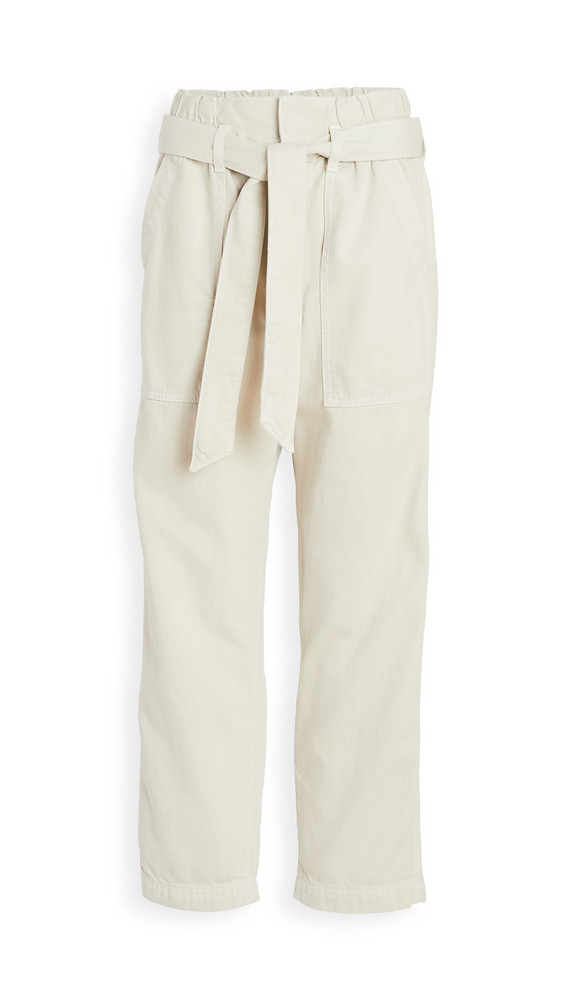 AMO Relaxed Straight Leg Paperbag Pants in white