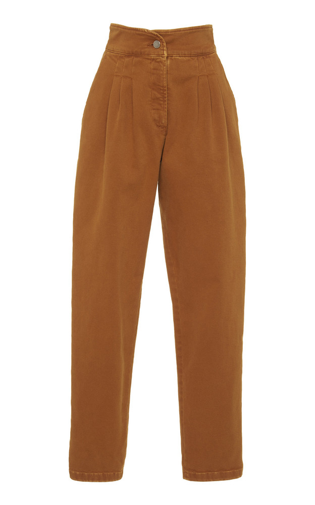 Alberta Ferretti Garment Dyed Stretch Denim Trouser in brown
