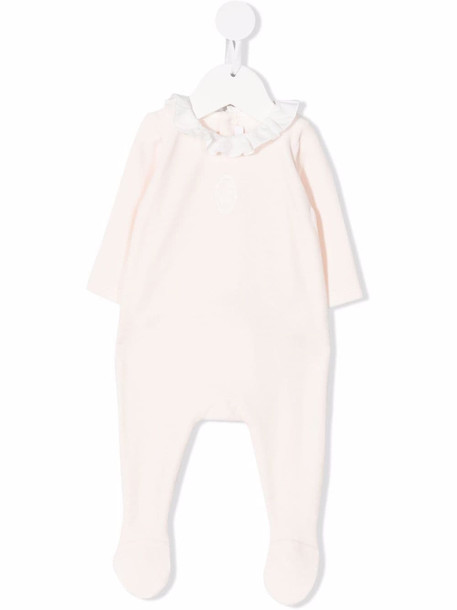 Chloé Kids ruffle-collar long-sleeved romper - Pink