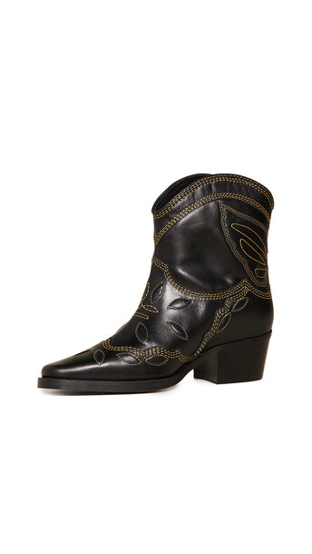GANNI Low Texas Boots in black