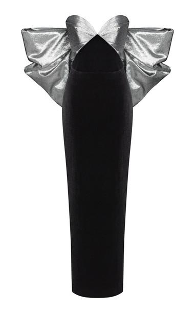 Rasario Bow-Embellished Velvet-Lurex Gown in metallic