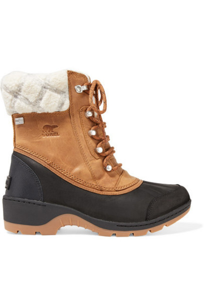 Sorel - Whistler Rubber And Wool-trimmed Waterproof Nubuck Boots - Tan