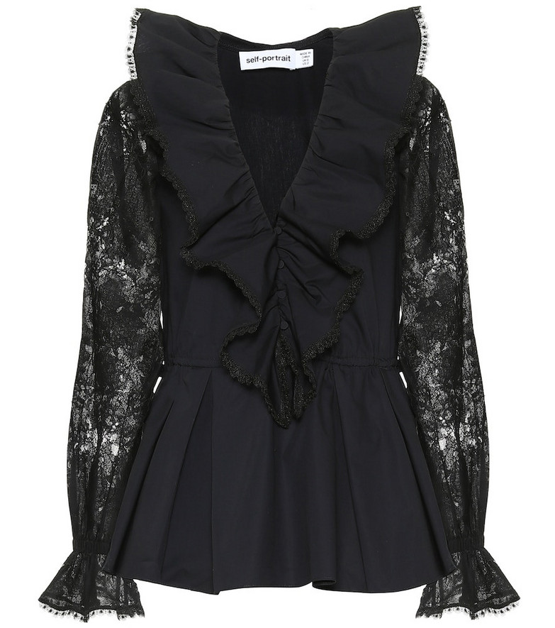 Self-Portrait Lace-trimmed cotton top in black