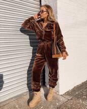 pants,joggers,faux fur,prettylittlething,combat boots,platform boots,brown jacket,brown bag,louis vuitton bag