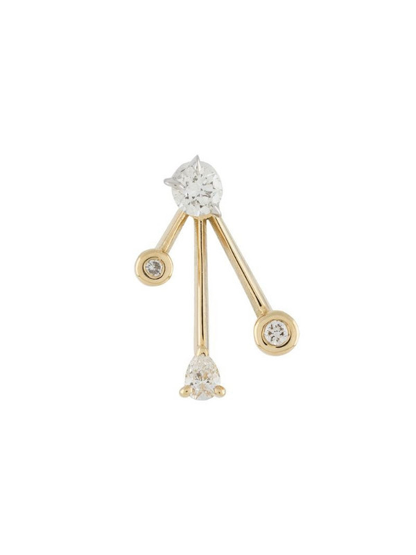 LE STER 18kt yellow gold Crackle ear jacket with diamond studs single earring