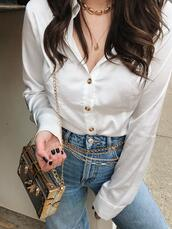 adventures in fashion,blogger,blouse,jeans,shoes,bag,belt,jewels,white shirt,metallic bag