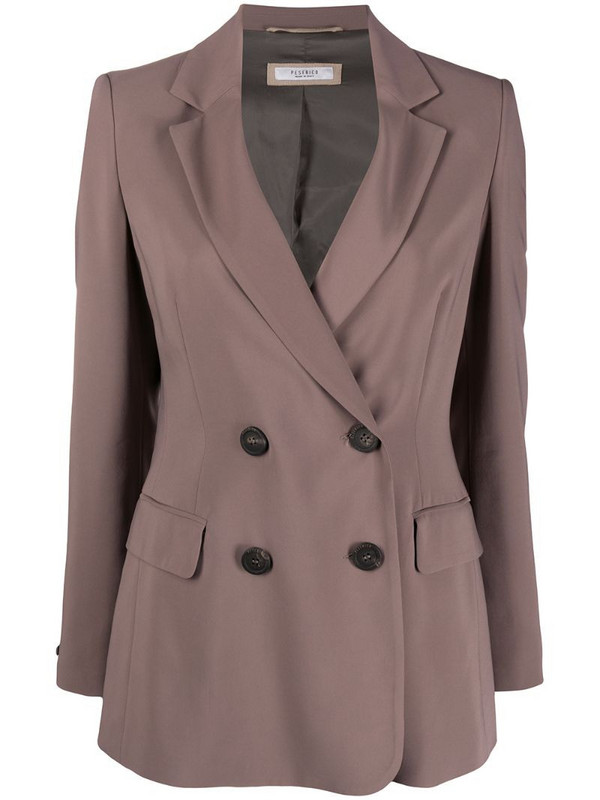 Peserico double-breasted fitted jacket in grey