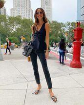top,tank top,skinny jeans,cropped jeans,black jeans,slide shoes,chanel,transparent  bag,jeans
