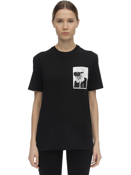 KARL LAGERFELD Printed Cotton Jersey T-shirt in black