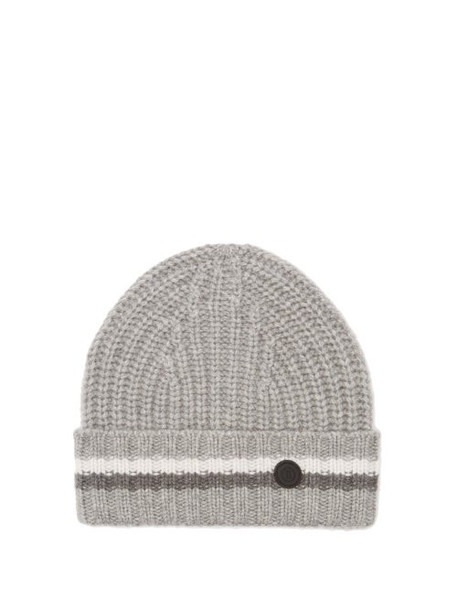 Bogner - Logo Roundel Jacquard Striped Cashmere Beanie Hat - Womens - Grey