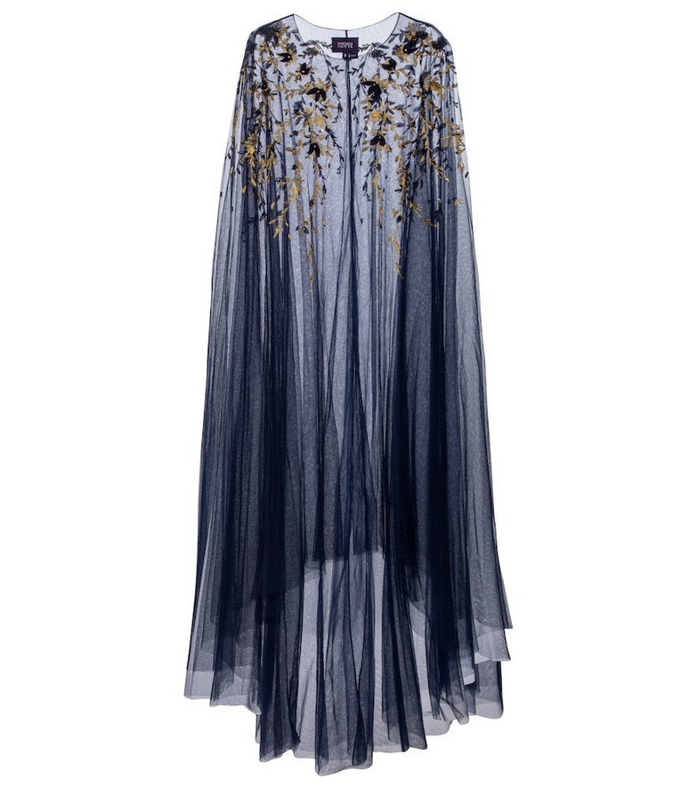 Marchesa Notte Embroidered tulle cape in blue