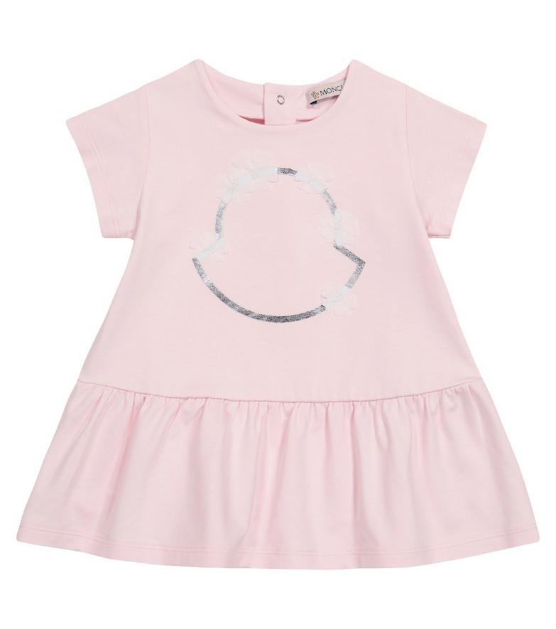 Moncler Enfant Baby logo stretch-cotton dress in pink