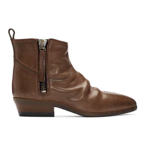Golden Goose Brown Leather Vian Boots