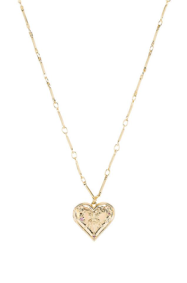 Wanderlust + Co Harlow Locket Necklace in gold / metallic