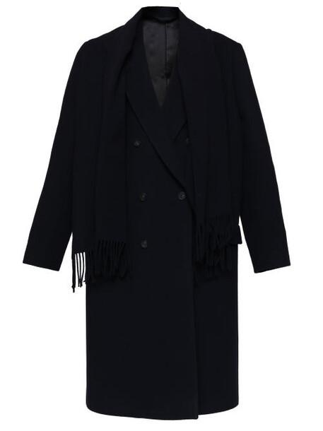 Balenciaga - Shawl-embellished Oversized Twill Coat - Womens - Navy