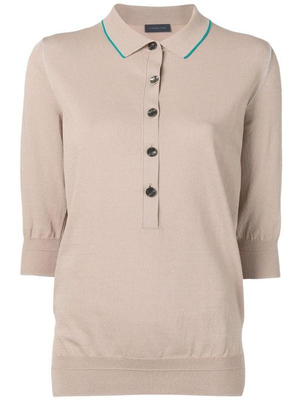 Eudon Choi 3/4 sleeves polo shirt in neutrals