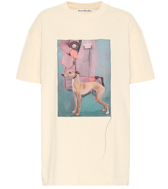 Acne Studios Printed cotton jersey T-shirt in neutrals
