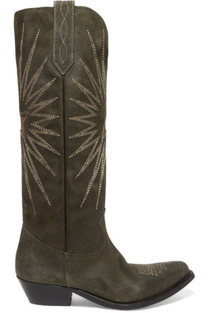 Golden Goose - Wish Star Embroidered Suede Boots - Green