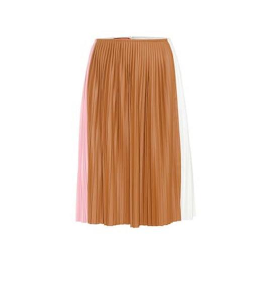Plan C Pleated midi skirt in brown
