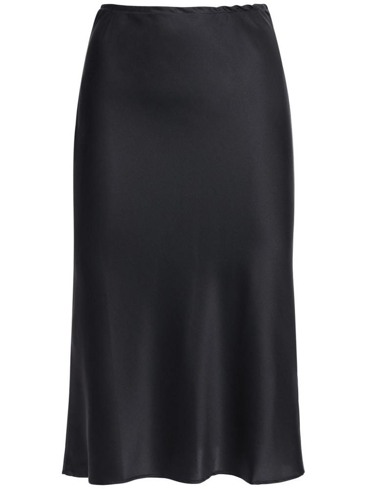 CIAO LUCIA Valeria Silk Satin Midi Skirt in black