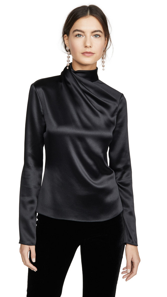 Brandon Maxwell Draped Neck Satin Blouse W Sleeves in black