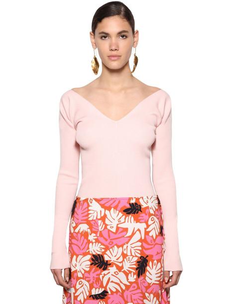 MARNI Virgin Wool Rib Knit Sweater in pink
