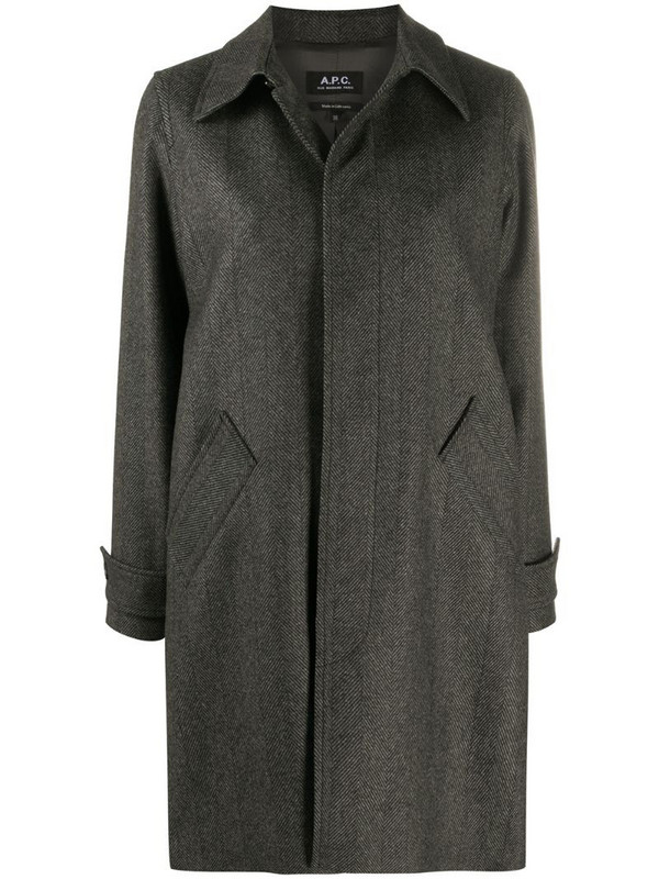 A.P.C. concealed front coat in grey