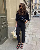 shoes,black sandals,chanel,black pants,black sweater,black bag,loewe bag