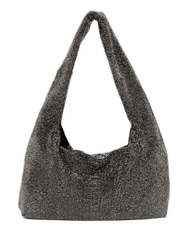 Kara stud-embellished shoulder bag in silver