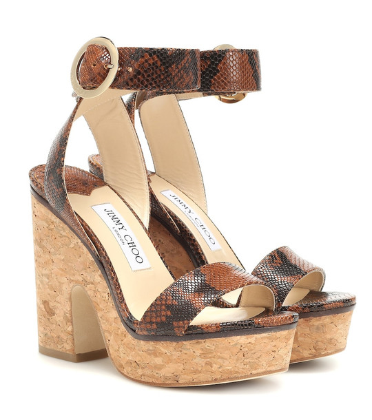 Jimmy Choo Aimee 125 leather platform sandals in brown