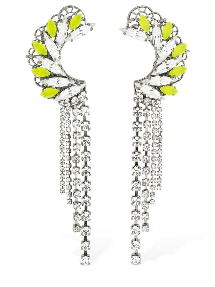 ANTON HEUNIS Maxi Omega Crystal Clasp Earrings in green / silver