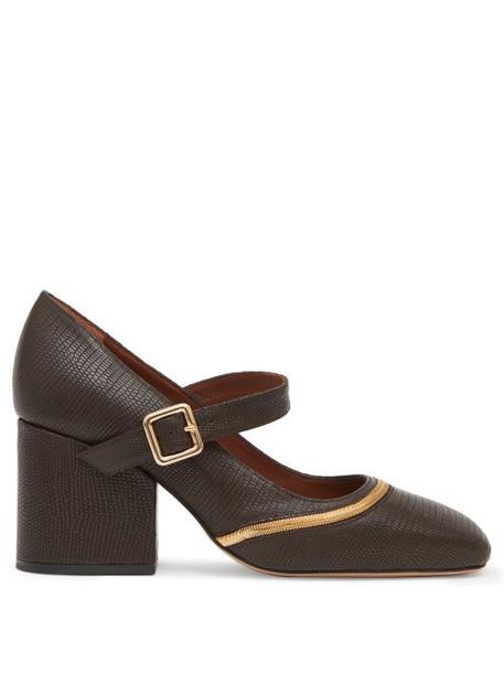 Osman - Nina Lizard-effect Leather Mary Jane Pumps - Womens - Dark Brown