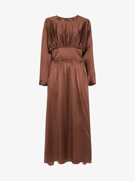 Deitas Hermine ruched detail dress in brown