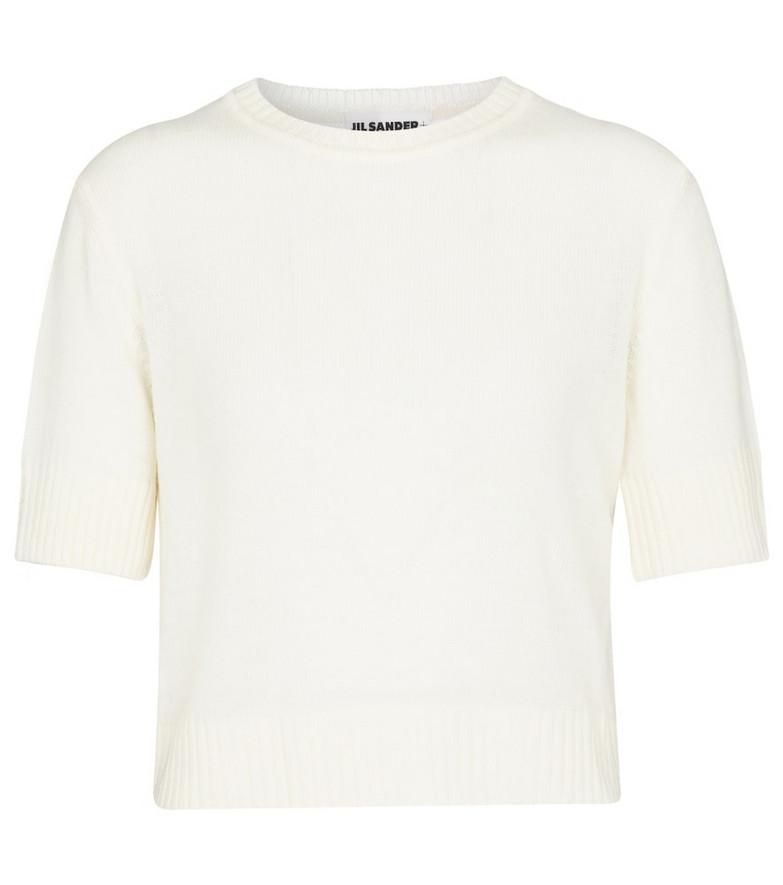 Jil Sander Cropped wool sweater in white