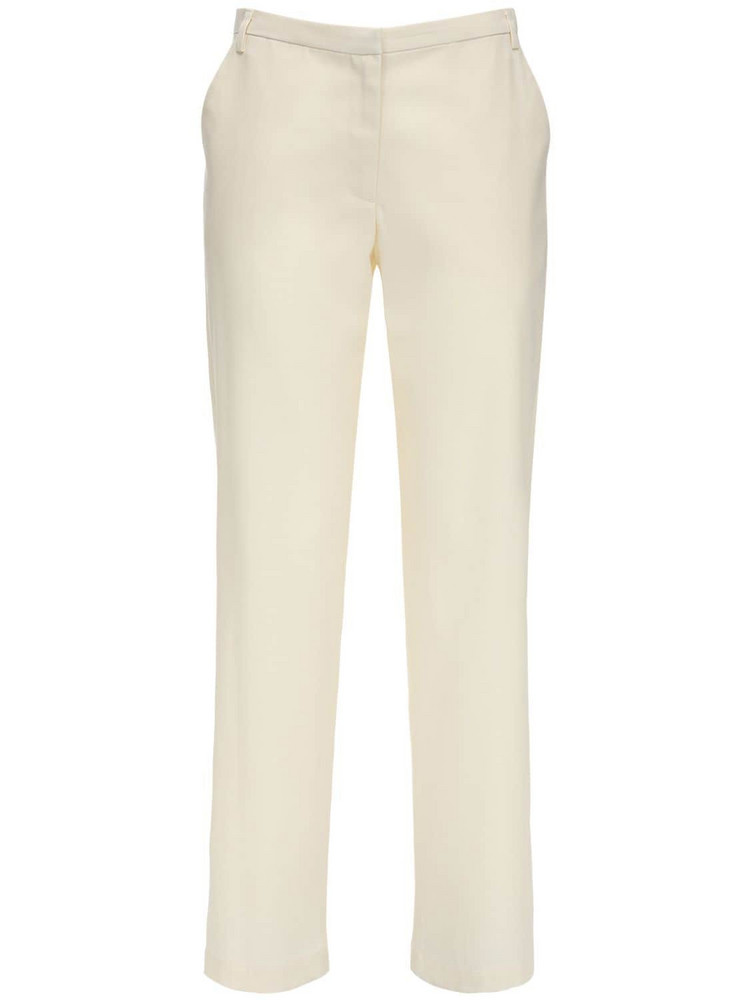 MARYAM NASSIR ZADEH Cape Wool Blend Twill Straight Pants in ivory