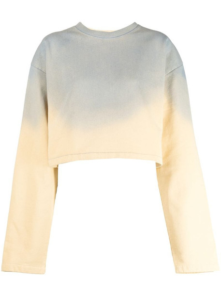 Acne Studios cropped gradient effect sweatshirt in yellow