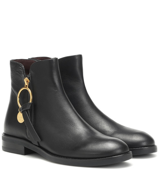 See By Chloé Louise Flat leather ankle boots in black