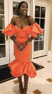 dress,orange dress,ruffle dress