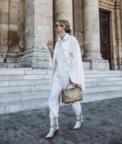 shoes,cowboy boots,isabel marant,snake print,white jumpsuit,poncho,shoulder bag