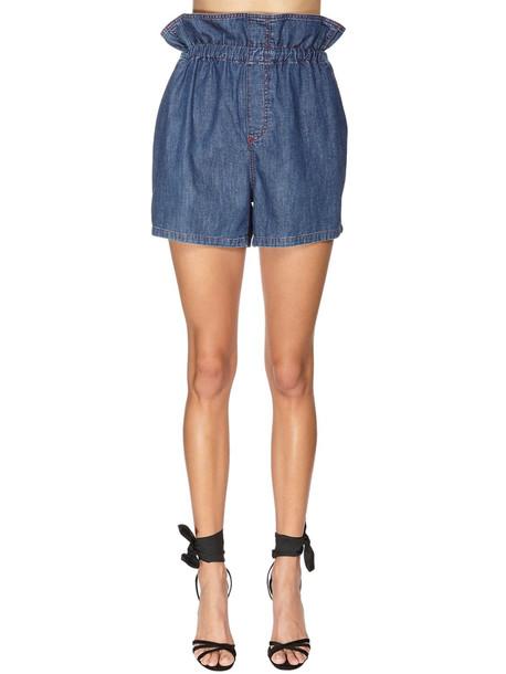PHILOSOPHY DI LORENZO SERAFINI Ruffled Cotton Denim Shorts in blue