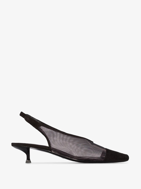 by FAR Black Kendall 40 suede and mesh slingback pumps